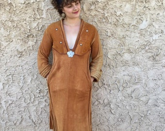 Incredible 1970s custom made suede dress Christie Osborn