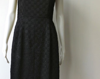 Stunning Vintage 1950's Black Silk Wiggle Dress