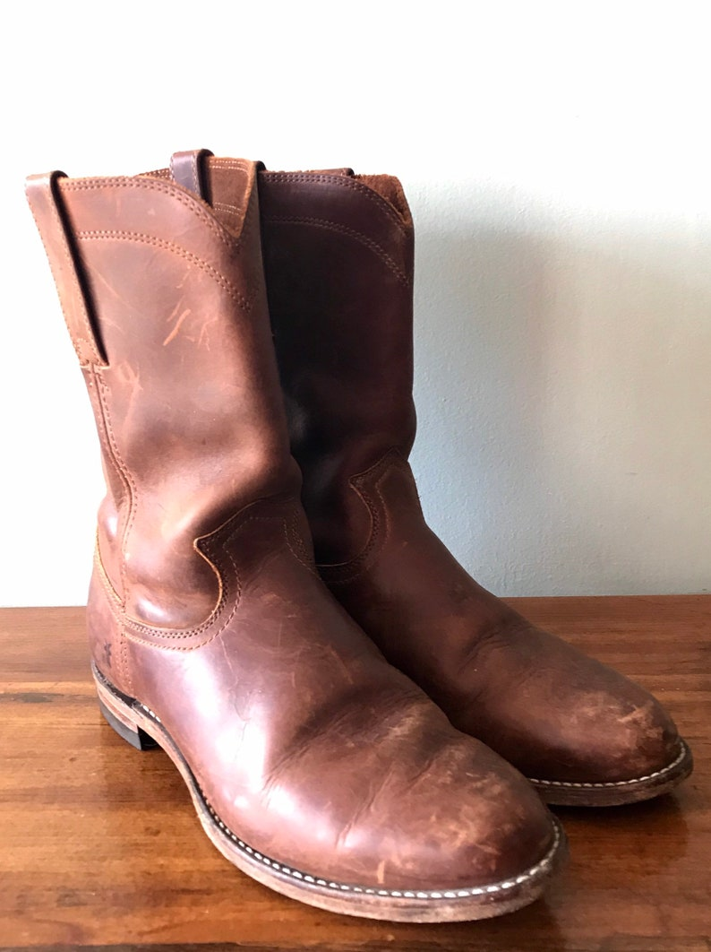 250c1598acc Vintage Made in U.S.A. Frye Weston Roper Mens Brown Leather Slip On Boots  Biltrite solesNo size but aprx Mwns size 11/11.5