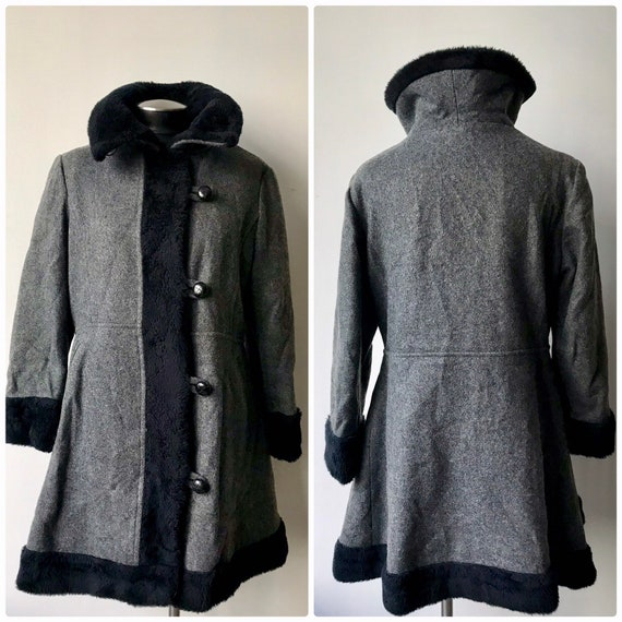 Vtg 60s 70s Women's Grey Wool Valor Black Faux fur