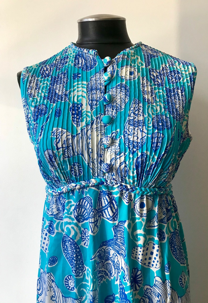 Vintage Lilly Pulitzer The Lilly 1970\u2019s Blue Seashell Maxidress Size 12