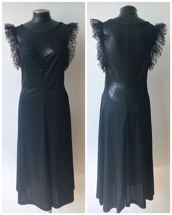 Vintage 1970's Aldens Fashions Black Sexy Ruffle P
