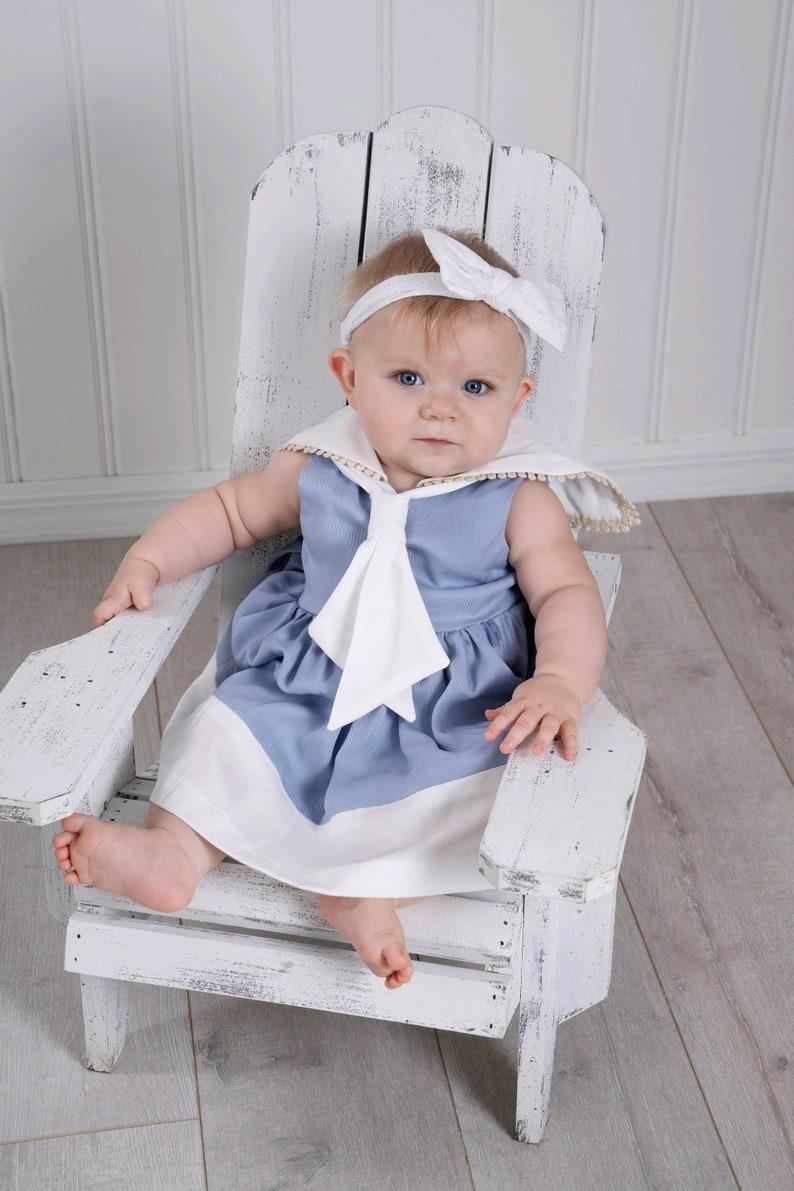 Light Blue Girls Sailor Nautical Dress