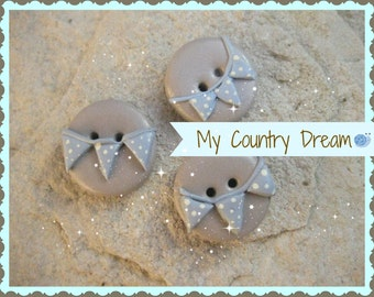 """Handmade Buttons """"Bunting Boy"""" - polymer clay buttons - set of 3 pcs."""