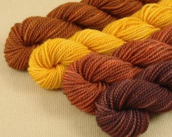 Mini Skeins November Leaves - Set of 4 - Hand Dyed Fingering Weight Sock Yarn - 100% Fine Organic Superwash Merino Wool Yarn