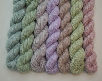 Mini Skeins Subtle Bubble Light - Set of 7 - Hand Dyed Fingering Sock Weight Yarn - 100% Fine Organic Non Superwash Merino Wool
