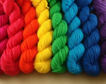 Mini Skeins Rainbow - Set of 8 - Hand Dyed DK Weight Yarn - 100% Superwash Merino Wool