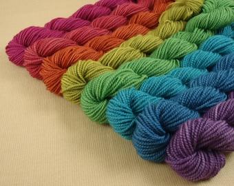 Mini Skeins Autumn Sampler - Set of 8 - Hand Dyed Fingering Sock Weight Yarn - 100% Superwash Merino Wool Yarn