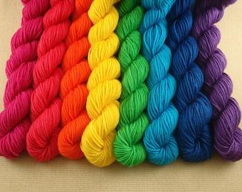 Mini Skeins Rainbow - Set of 8 - Hand Dyed Sport Weight Yarn - 100% Superwash Merino Wool