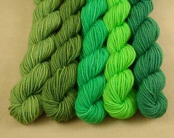 Mini Skeins Green Eyed Monster - Set of 5 - Hand Dyed Fingering Sock Weight Yarn - 100% Superwash Merino Wool Yarn