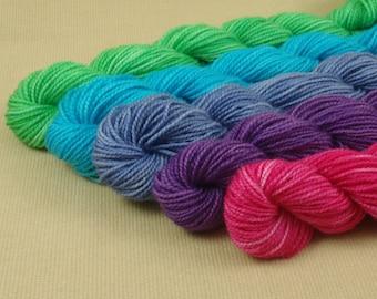 Mini Skeins Springtime Sampler - Set of 5 - Hand Dyed Fingering Weight Sock Yarn - 100% Superwash Merino Wool Yarn