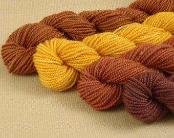 Mini Skeins November Leaves - Set of 4 - Hand Dyed Fingering Weight Sock Yarn - 100% Superwash Merino Wool Yarn