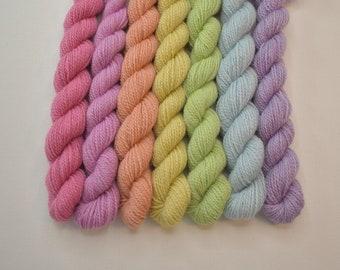 Mini Skeins Pastel Autumn Sampler - Set of 7 - Hand Dyed Fingering Sock Weight Yarn - 100% Fine Organic Non-Superwash Merino Wool Yarn