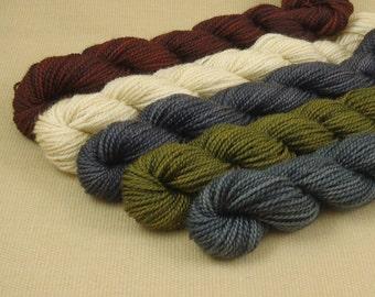 Mini Skeins Primitive Country - Set of 5 - Hand Dyed Fingering Sock Weight Yarn - 100% Fine Organic Superwash Merino Yarn
