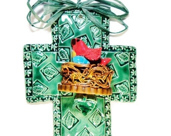 Bird Nesting in Tree of Mustard Seed Cross Green Turquoise Red Bird Nest and Egg Sculpture