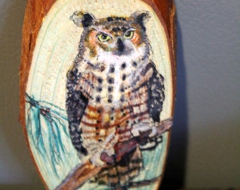 Great Horned Owl Original Painting on Cedar Wood Slice