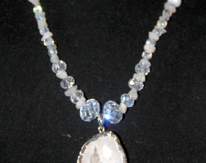 The Snow Queen - Snowy White Quartz Druzy with Clear Crystal Beads and Snowy Rutilated Quartz