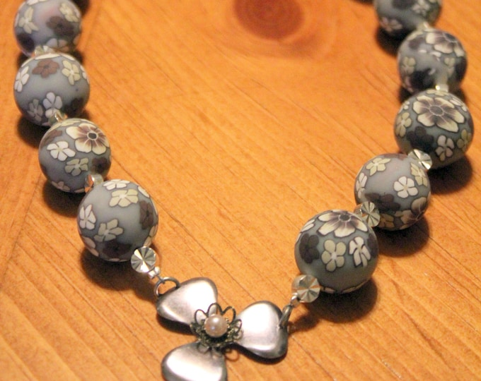 Silver Flowered Beads with Silver Flower Necklace