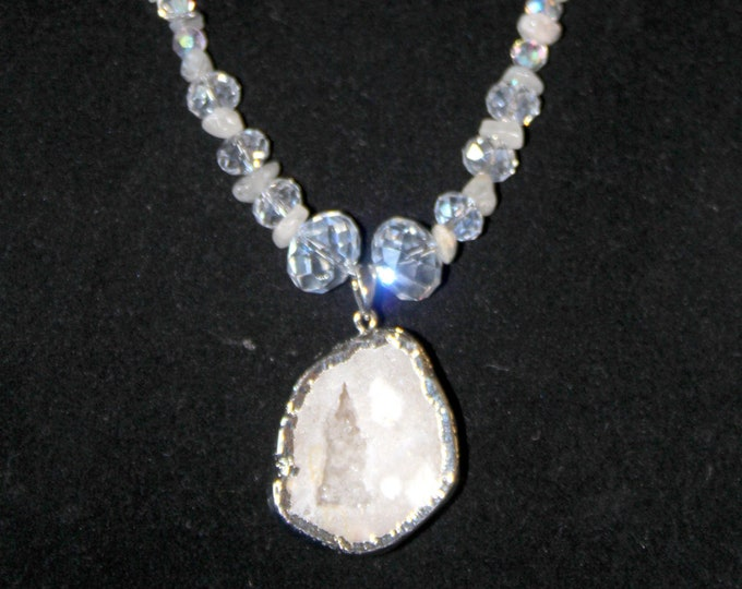 Snowy White Quartz Druzy with Crystal Beads and Snowy Rutilated Quartz Necklace