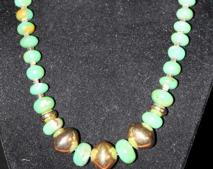 Green Chrysoprase and Gold Bead Necklace