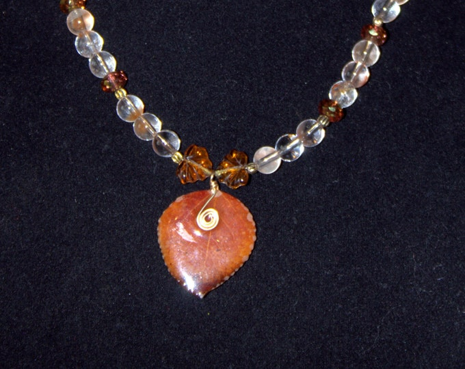 Real Aspen Leaf in Resin with Quartz Beads and Czech Glass Necklace
