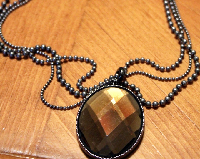 Gunmetal Gray Multi-Chain Necklace with Amber Faceted Pendant