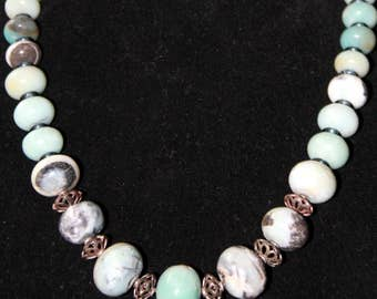 Amazonite Chunky Bead with Hill Tribe Sterling Silver Necklace