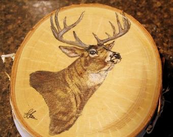 Mule Deer Buck Painting on Birch Wood Slice