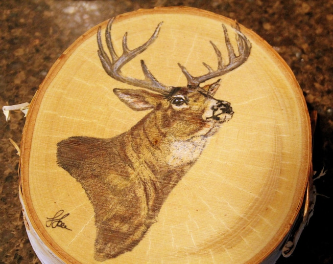 Mule Deer Buck Painting on Birch Wood Slab