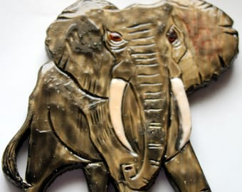 Carved Wood African Elephant Finished with Enamel