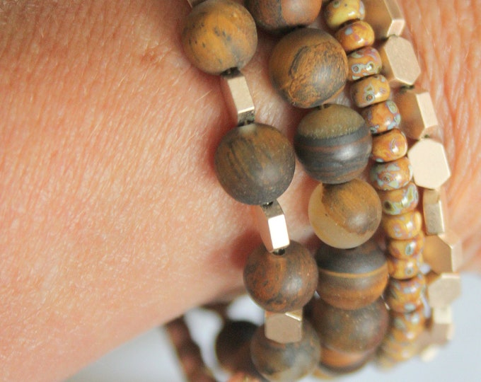 Cat's Eye Agate, Brass and Seed Bead Wrist Wrap stackable Cuff Bracelet