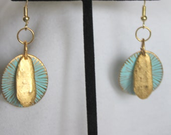 Aqua and Gold Organic Earrings with French Ear Wires