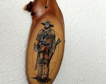Original Painting of a Mountain Man on Montana Mountain Ash Slab
