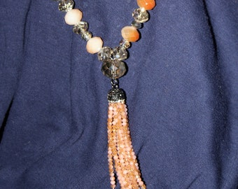 Apricot and Light Gray Faceted Czech Glass Rondelle Crystal Necklace with Tassel