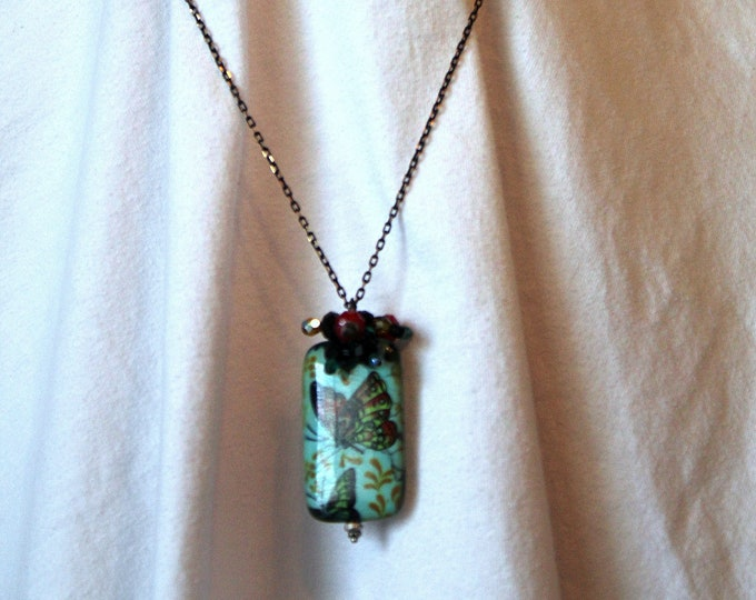 Chinese Butterfly Bead Pendant on Long Black and Copper Chain Necklace