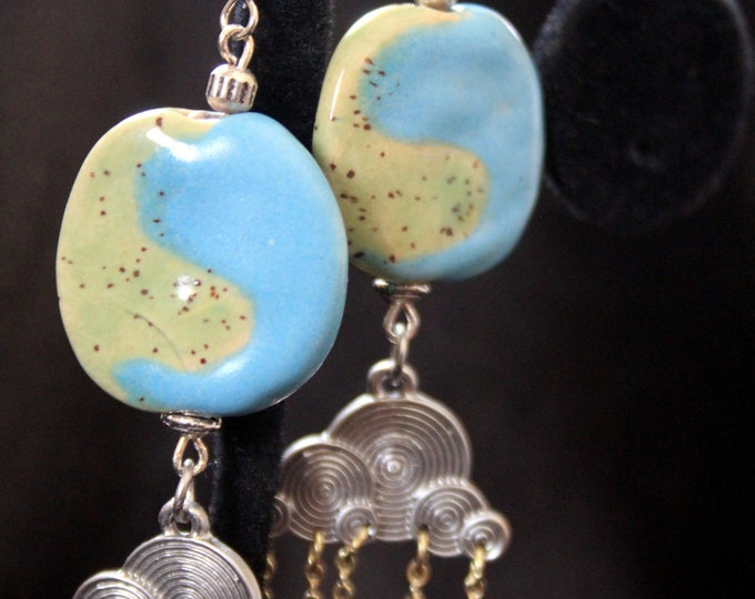 Blue and Straw Green Glazed Kazuri Beads with Cloud and Rain Charms Boho Chic Earrings