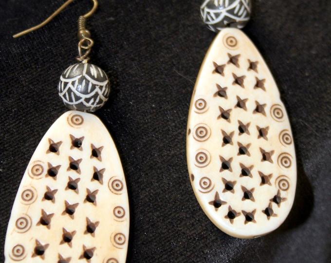 Vintage Bone Bead Earrings