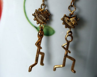 Gold Stickmen Runner Earrings