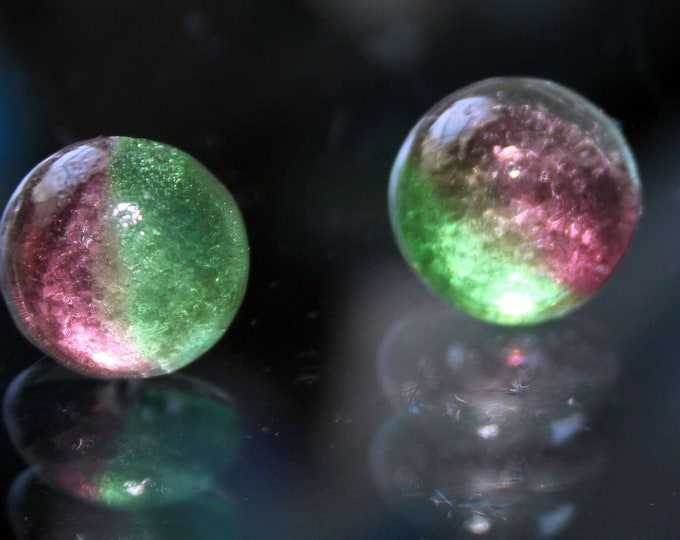 Pink and Green Aurora Borealis Dichroic Glass Button Stud Earrings