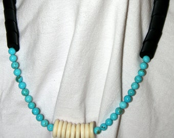 Sleek Turquoise, Black Onyx and White Buffalo Bead Necklace