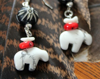 White Stone Buffalo with Red and White Coral Earrings