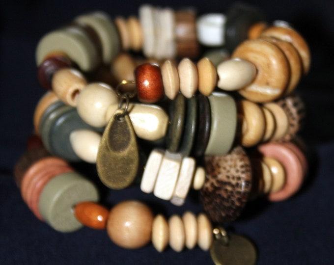 Wood Bead Wrist Wrap Stackable Cuff Bracelet