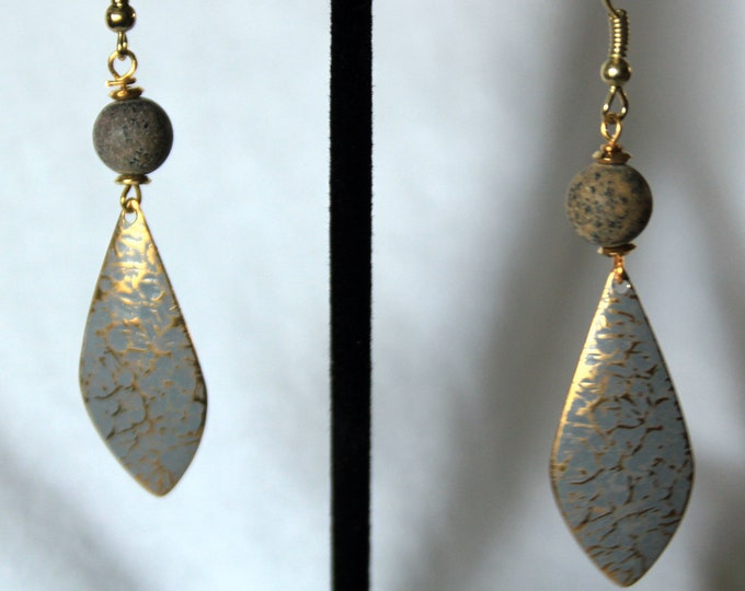 Dove Gray Patina over Textured Gold Elongated Drop Earrings with River Jasper Stone Accents
