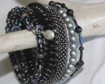 Black and Silver Stacking Wrist Wrap Cuff Bracelet