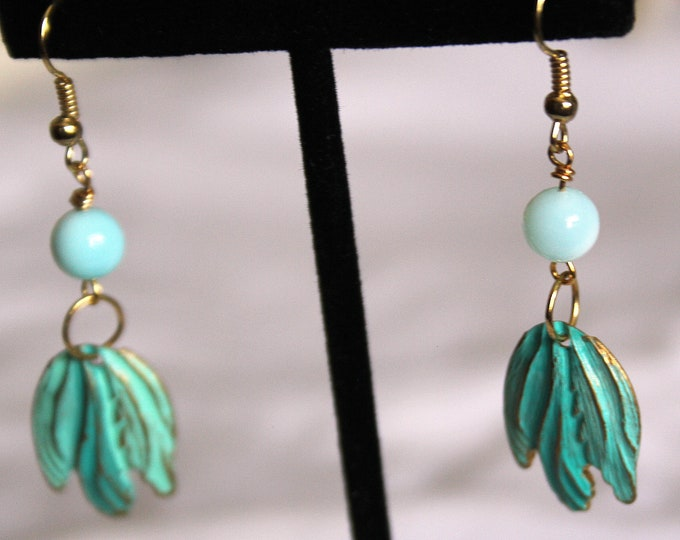 Aqua Patina Over Gold Blossom with Blue Peruvian Opal Earrings