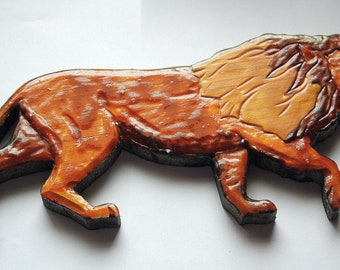 Lion - Wood Carved Walking Lion Plaque Hand Painted with Enamel
