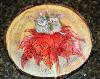 "Prismacolor and Acrylic On Round Birch Wood Slice of Mice ""Peace and Joy"" Sitting Atop a Poinsettia with a Green Candle Painting"