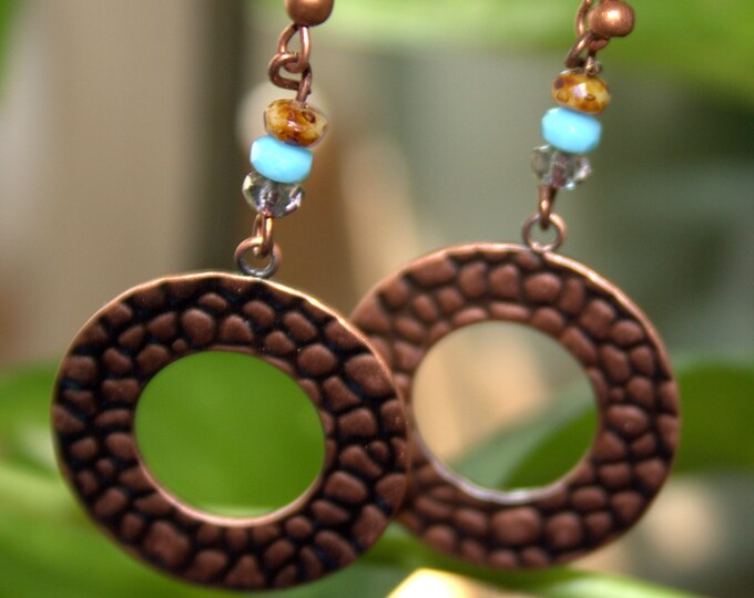 Rolled and Stamped Copper Hoops with Turquoise and Copper Accent Bead Earrings