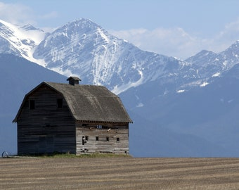 Montana Barn with Mission Mountain Background -Photography-16x20 Thinwrap