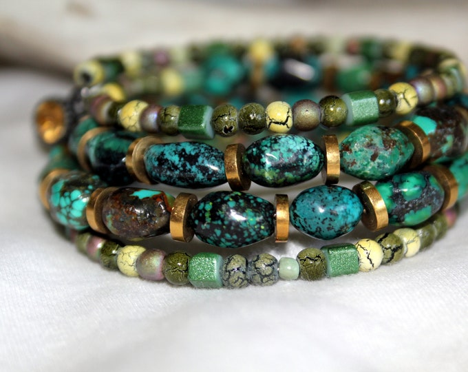 Malachite (blue-green stone) and Mixed Ceramic Bead Wrist Wrap Stackable Cuff Bracelet